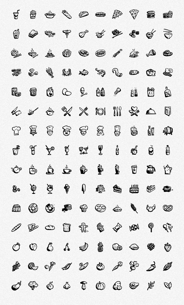 150 Hand-drawn Food and Drink Icons