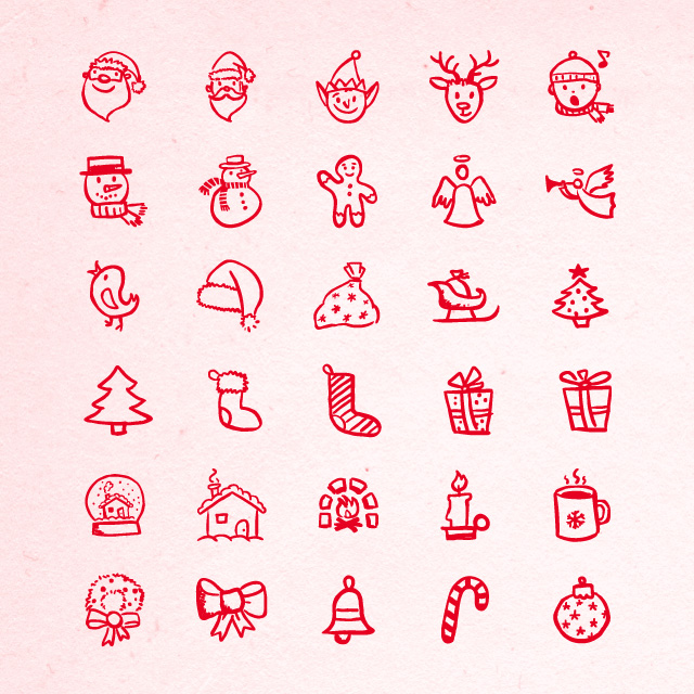 Hand drawn holiday icons part 1 halloween thanksgiving christmas