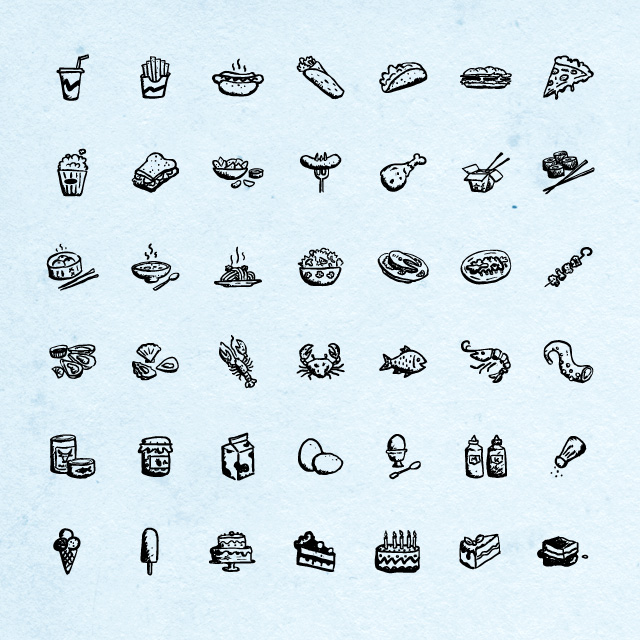 Hand-drawn Food and Drink Icons