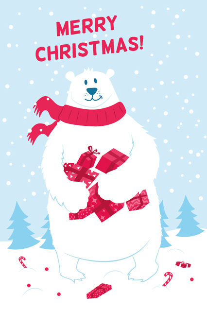 Illustrated Christmas Card with Polar Bear
