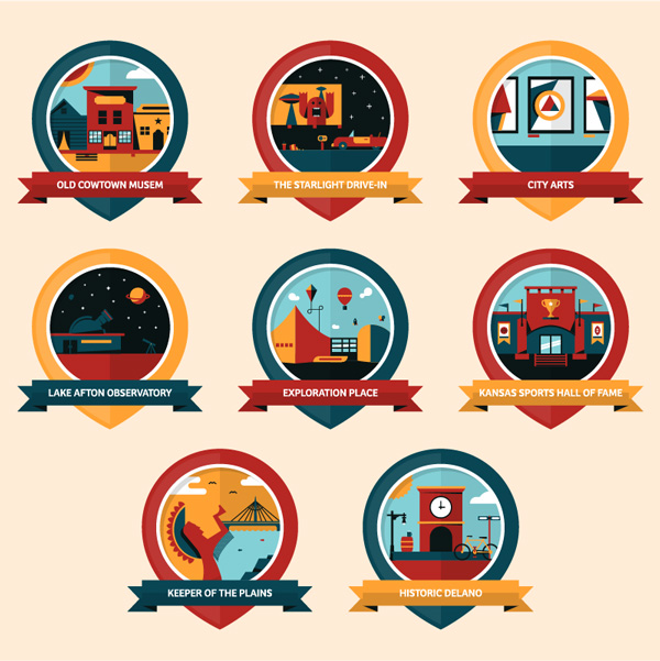 Illustrate a Series of Icons or Badges using Basic Geometric Shapes